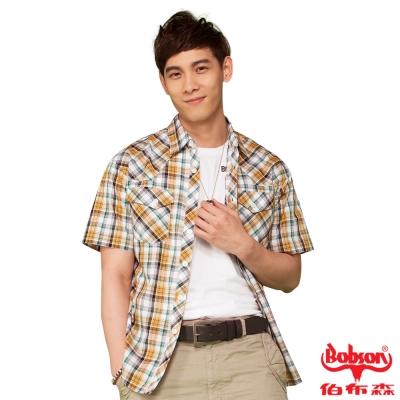 BOBSON 男款腰身短袖襯衫(黃綠24003-30)