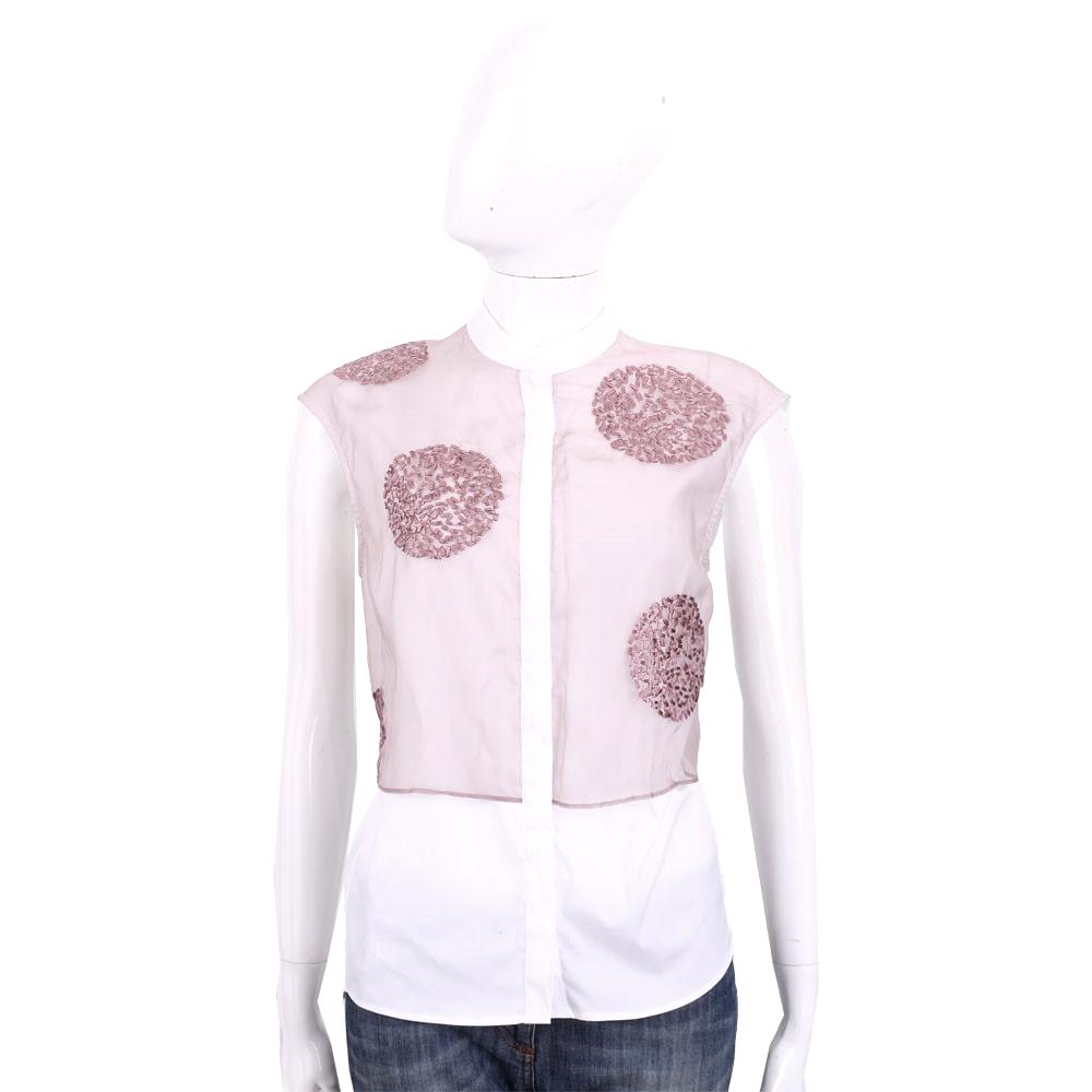 FABIANA FILIPPI 粉x白拼接棉質短袖上衣