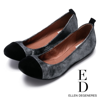 ED Ellen DeGeneres 真皮亮面鞋頭百搭平底鞋-銀色