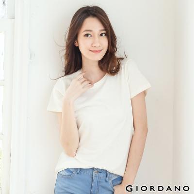 GIORDANO-女裝圓領魚尾短袖TEE-05棉花