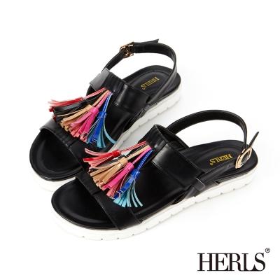 HERLS 夏日繽紛 俏皮流蘇涼鞋-黑色