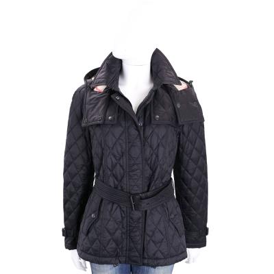 BURBERRY 黑色可拆式連帽絎縫風衣外套