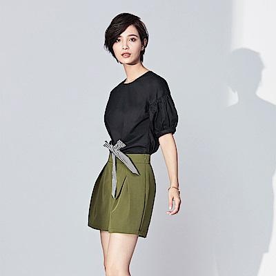 SUITANGTANG 燈籠袖腰綁帶上衣-共2色-黑色