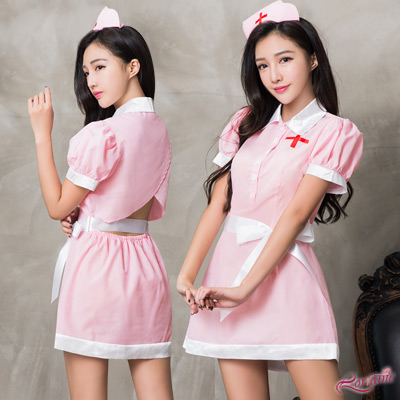 護士服 甜美俏護士角色扮演服三件組(白+粉F) Lorraine