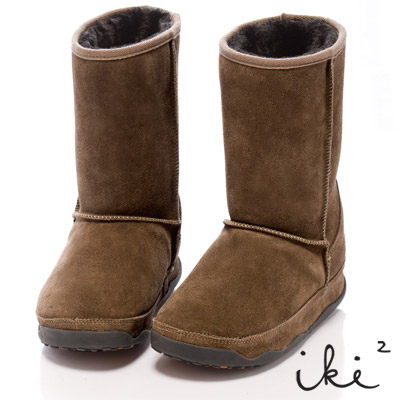 iki2魅力滿載-機能性美腿麂皮雪靴-長筒-卡其
