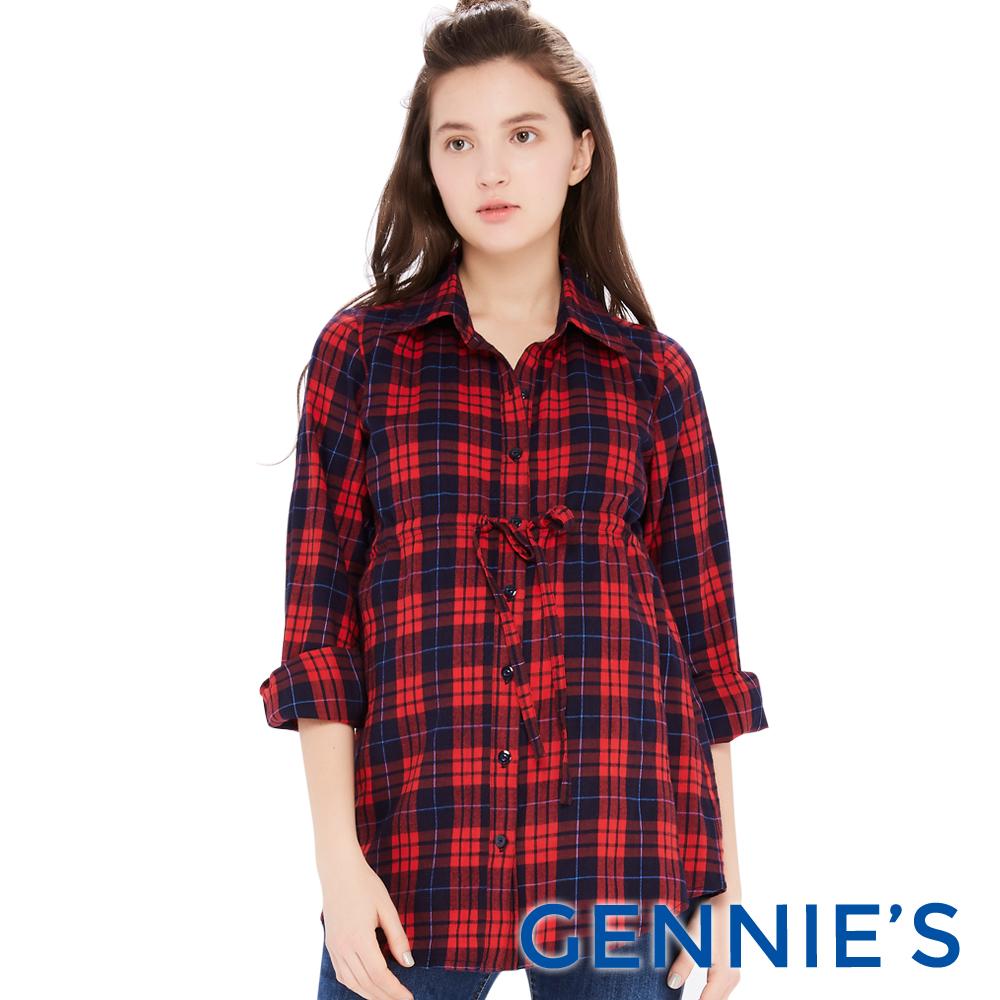 Gennies專櫃-經典格紋配色綁帶哺乳上衣(T3E09)二色可選