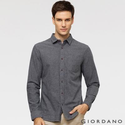 GIORDANO 男裝純棉磨毛修身單口袋長袖襯衫 - 02 中花灰
