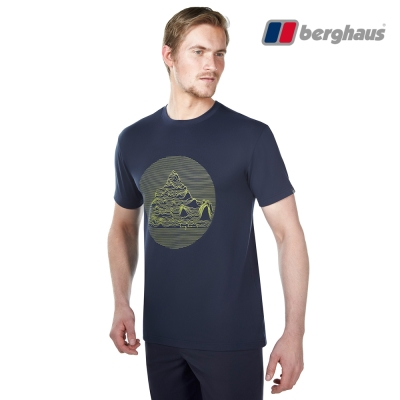 【Berghaus貝豪斯】男款銀離子除臭抗菌吸濕快乾抗UV上衣S04M91深藍