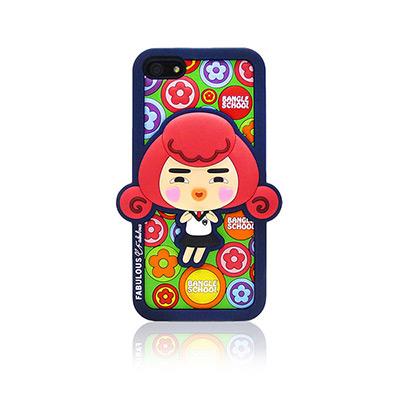 【摩達客】韓國Fabulous進口 小花Yola深藍3D矽膠保護套/iPhone5手機套