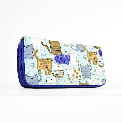 Miyo 俏皮貓雙層拉鍊長夾(淺藍)
