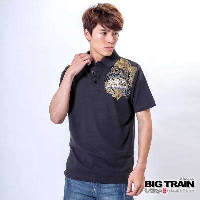 BIG TRAIN 天狗vs月姬POLO衫-男-鐵灰