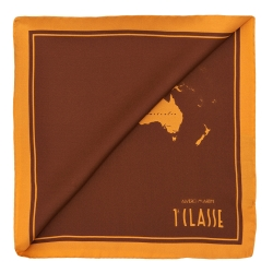Alviero Martini 義大利地圖 經典地圖撞色絲巾(70X70) 棕/芥末黃