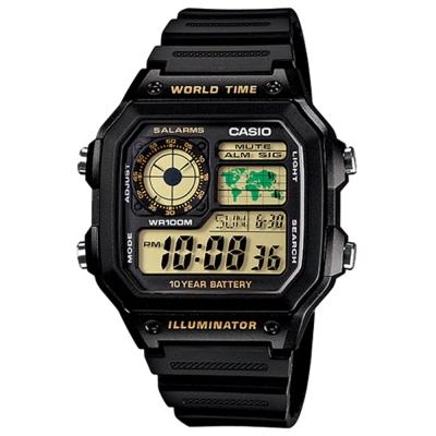 CASIO 世界地圖十年電力數位錶(AE-1200WH-1B)-黃面/45mm