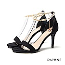 達芙妮DAPHNE 涼鞋-珍珠鍊條踝帶一字高跟涼鞋-黑