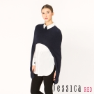 JESSICA RED-兩件式斗篷襯衫上衣(深藍)