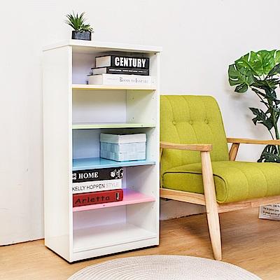 Birdie南亞塑鋼-1.6尺開放式五格收納櫃/置物櫃(彩色板)-49x33x100cm