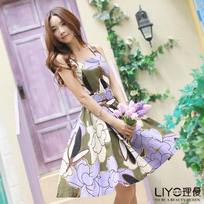 LIYO理優洋裝印花U領無袖洋裝(紫)