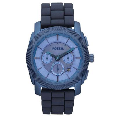 FOSSIL 絕讚霸氣視覺三眼計時腕錶(藍)/45mm