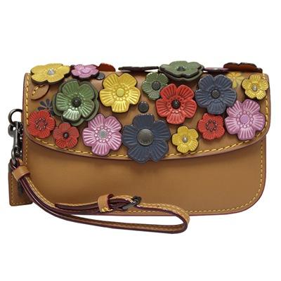 COACH 茶香玫瑰立體貼花牛皮手拿包-棕色/彩色
