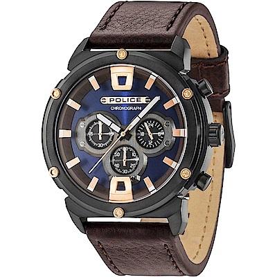 POLICE 強悍戰警三眼計時手錶-藍X咖啡 /50mm