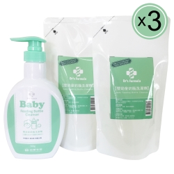台塑生醫Dr's Formula 嬰幼童奶瓶洗潔劑超值組(1罐+2包)/3組