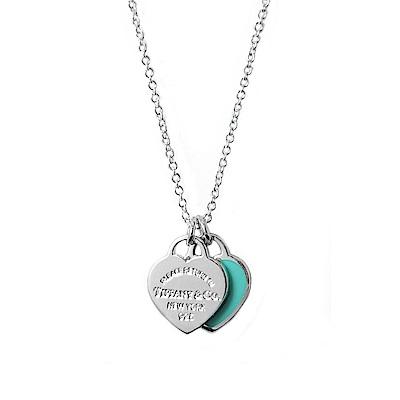 Tiffany&Co. 迷你雙色雙心純銀項鍊 經典藍