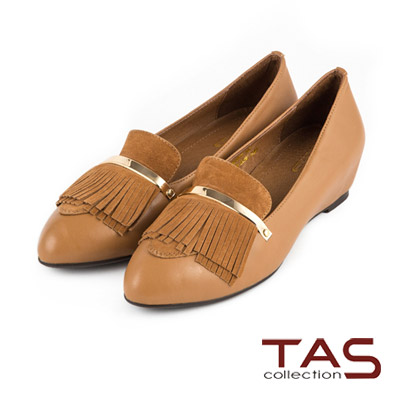 TAS-一字金屬流蘇裝飾內增高樂福鞋-復古駝