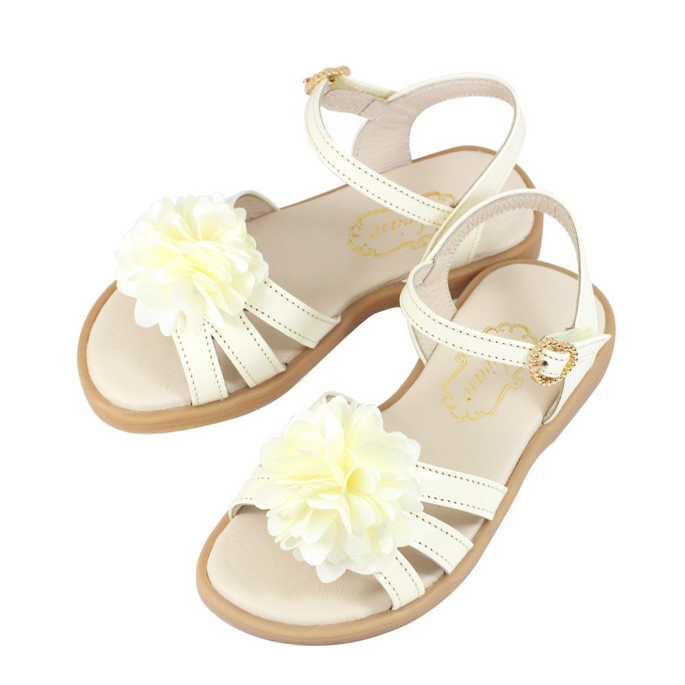 Swan天鵝童鞋-真皮花朵涼鞋 3842-米