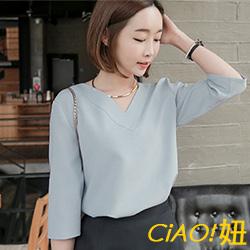 純色V領中袖雪紡衫 (共三色)-CIAO妞