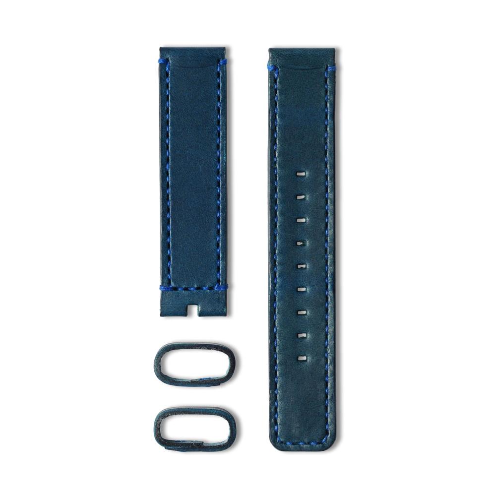 22 植揉皮革車線錶帶-藍色-20mm
