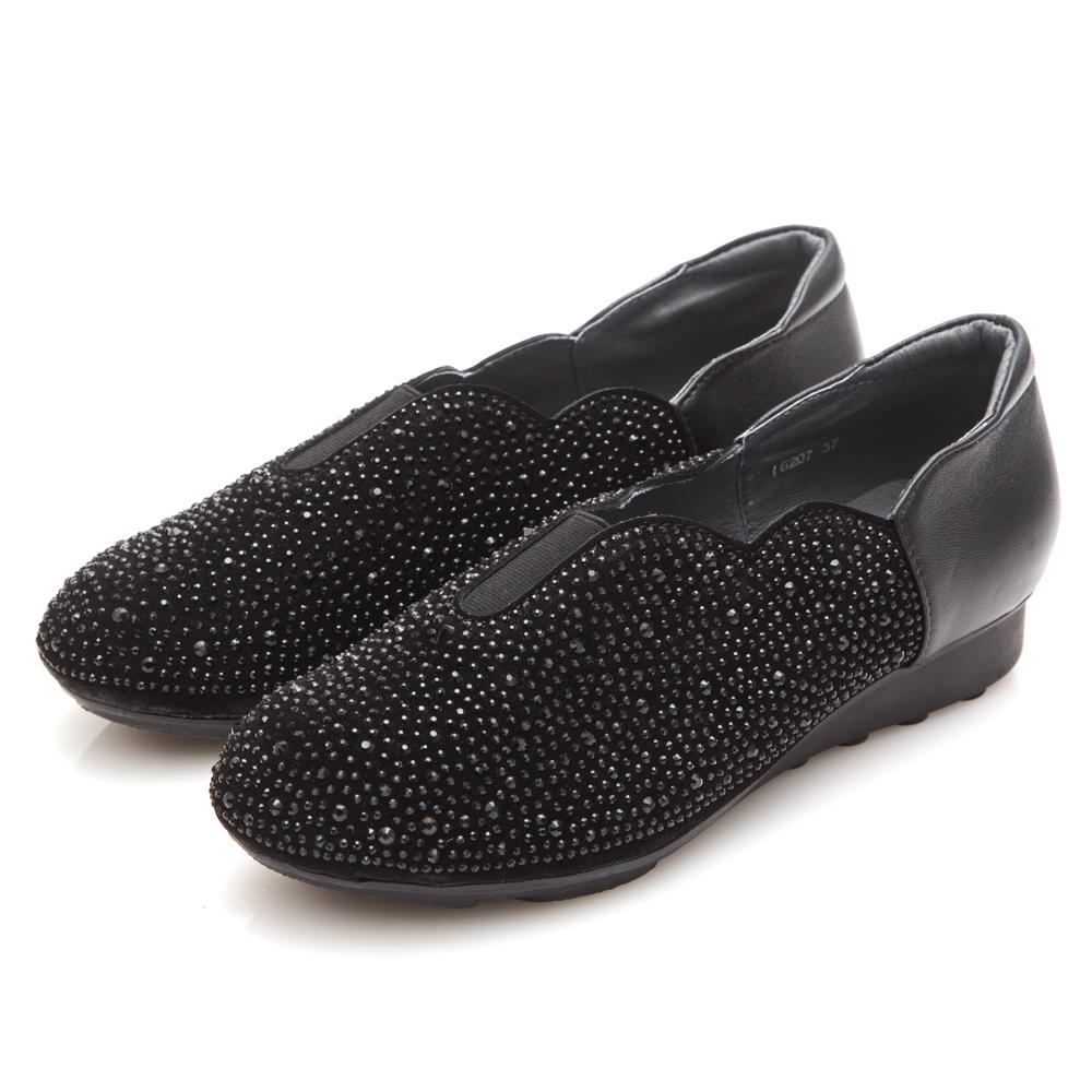 G.Ms. 燙鑽坡跟系列-羊皮拼接麂皮懶人鞋B款-黑色