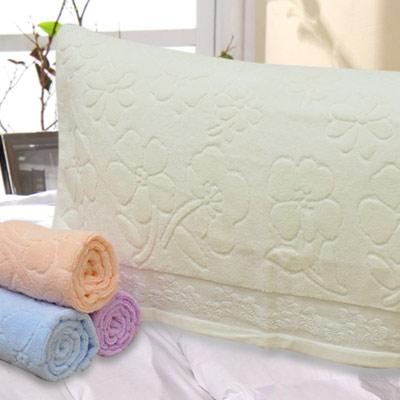 義大利La Belle 純色花卉 無捻紗枕巾-2入-米白