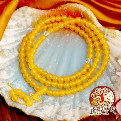 天然水晶 黃玉隨佛珠手鍊