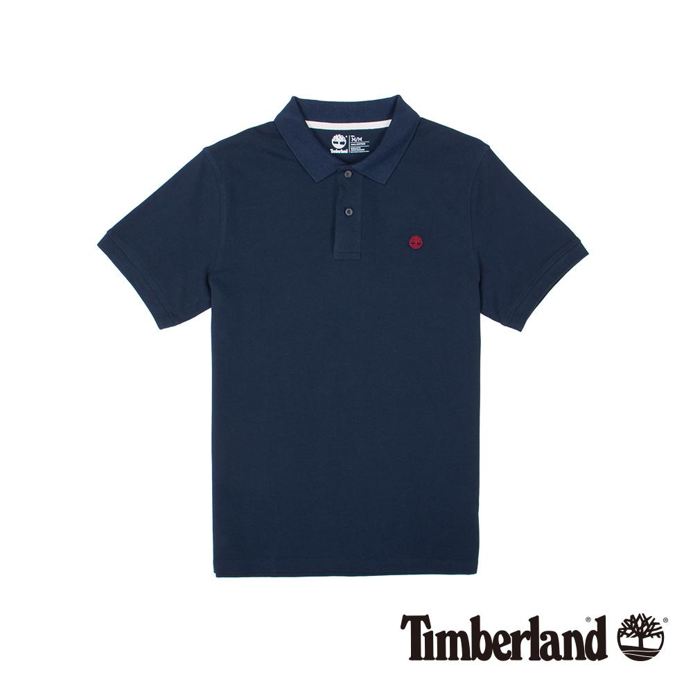 Timberland 男款深藍色棉質刺繡短袖POLO衫|A1S2N