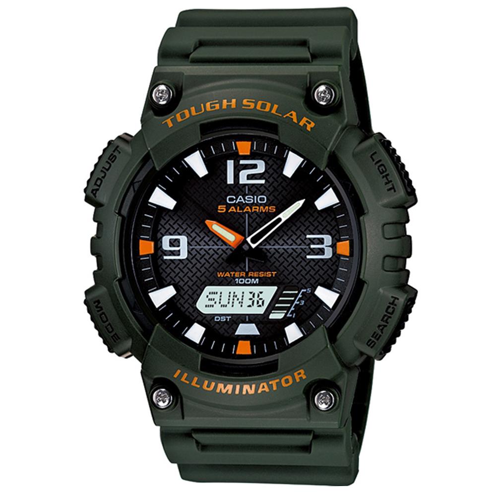 CASIO 新一代光動遊俠雙顯運動錶(AQ-S810W-3A)-黑x深墨綠錶帶/46.6mm