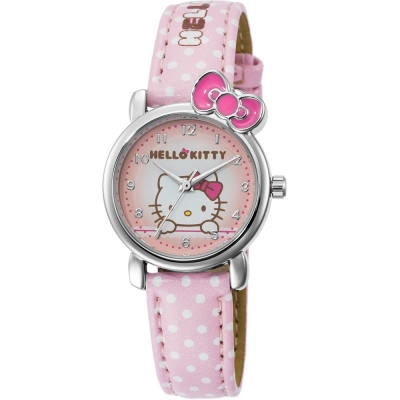 HELLO KITTY 凱蒂貓嬌滴圓點蝴蝶結手錶-粉紅/27mm