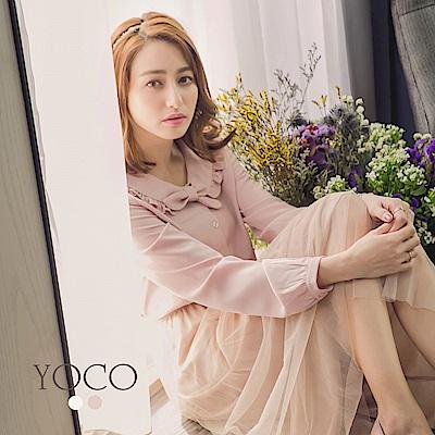 東京著衣-yoco 甜美日系荷葉蝴蝶結水手領上衣-S.M.L(共二色)