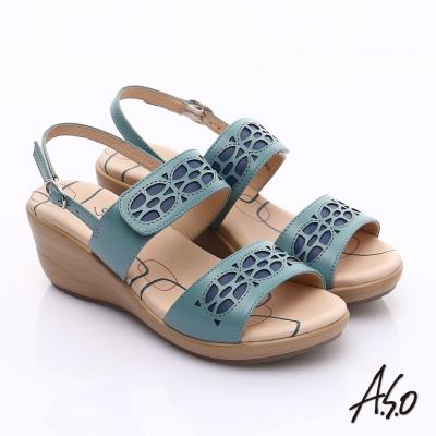 A.S.O 挺麗氣墊 全真皮寬楦鏤空氣墊楔型涼鞋 藍色