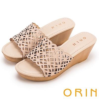 ORIN 簡約時尚 嚴選牛皮簍空雕花楔型拖鞋-膚色