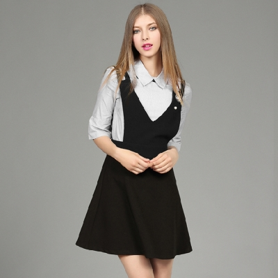 條紋短袖上衣A字吊帶裙兩件套M-XL-M2M
