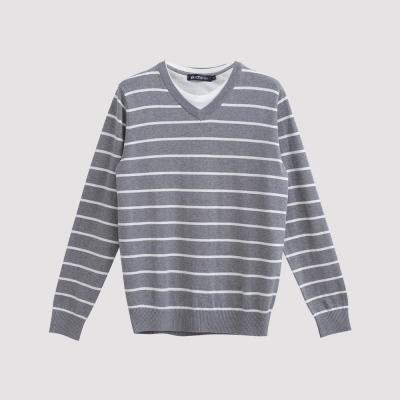 Hang Ten - 男裝 - 假兩件條紋針織毛衣 - 灰