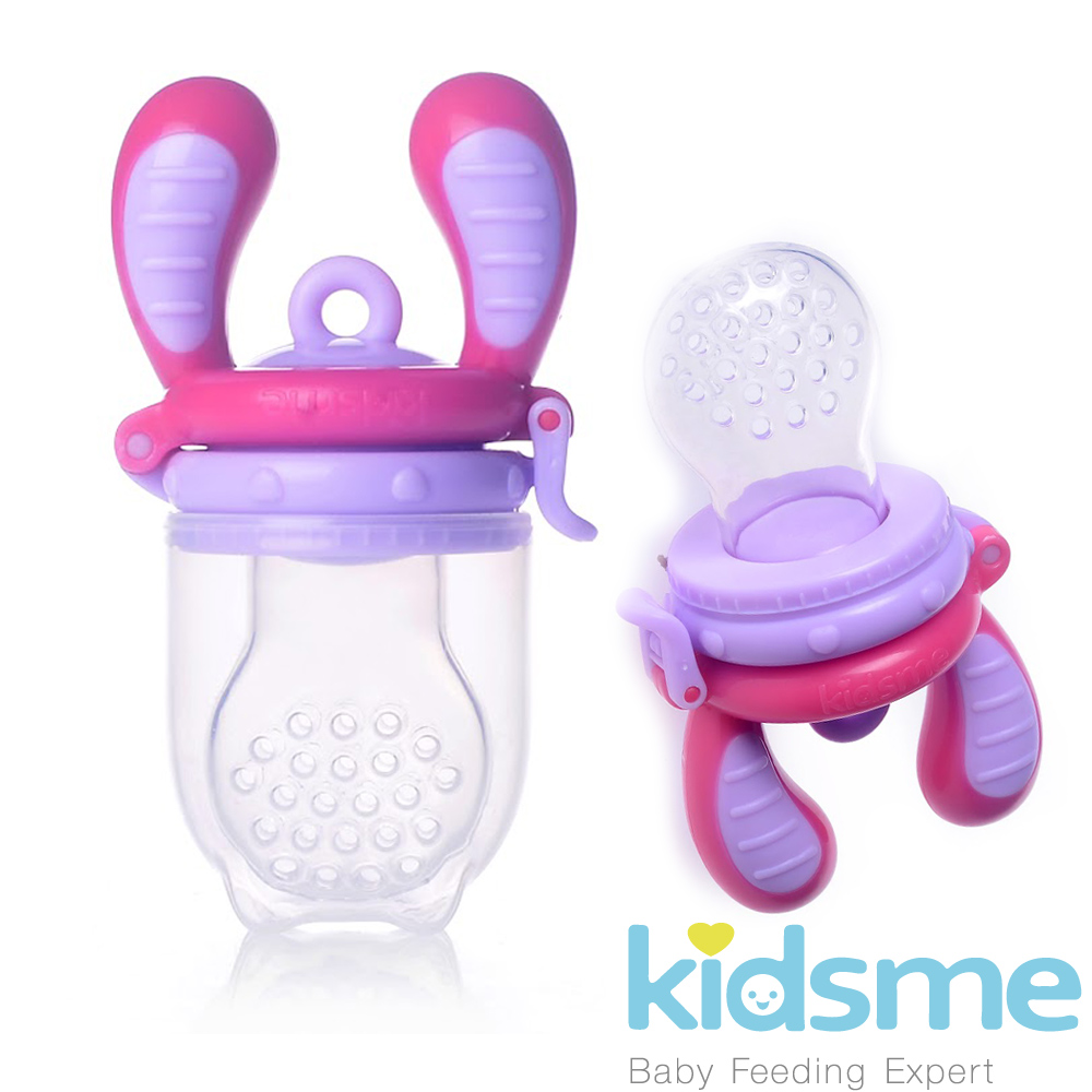 英國kidsme-咬咬樂輔食器-紫紅L號