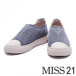 休閒鞋 MISS 21 鋸齒車線造型全真皮厚底休閒鞋-藍