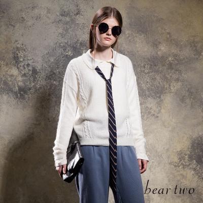 beartwo 素面編織造型混羊毛針織衫(二色)-動態show
