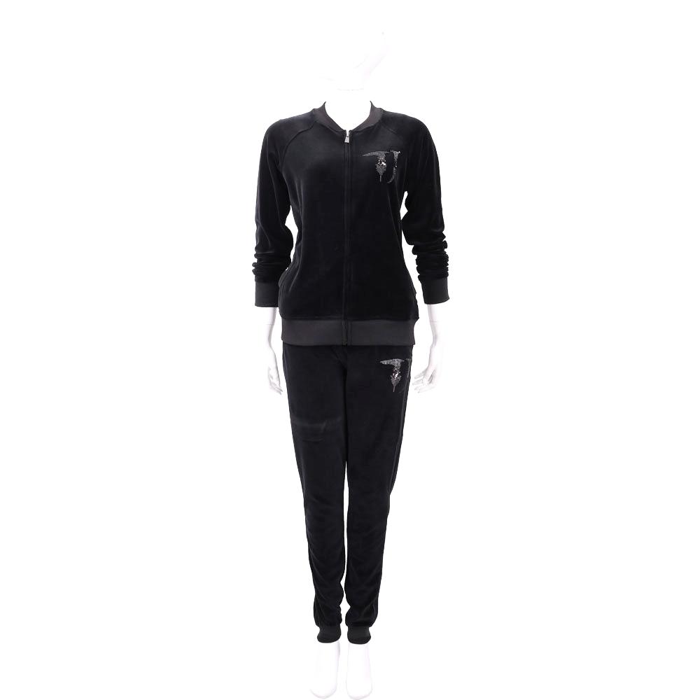 TRUSSARDI 黑色亮片細節天鵝絨休閒套裝