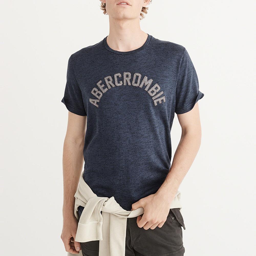 A&F 經典電繡文字短袖T恤-深藍色 AF Abercrombie