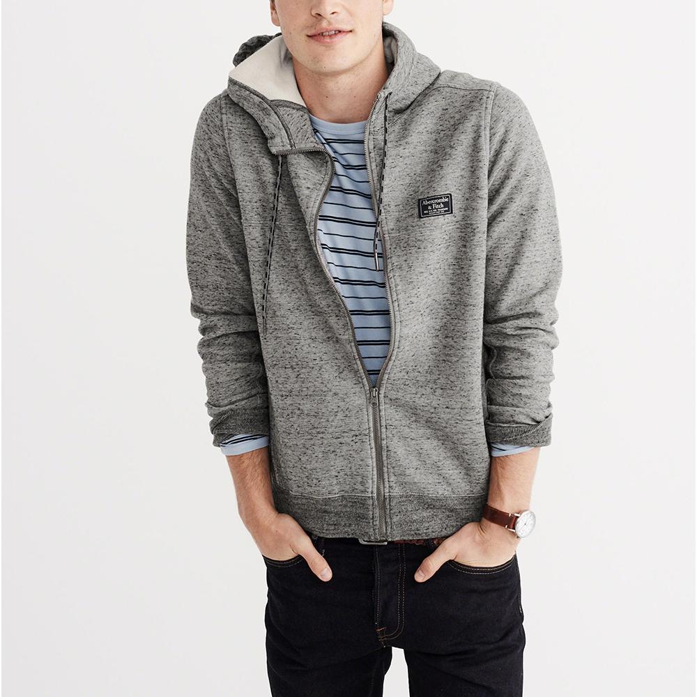 A&F 經典標誌質感舒適連帽外套-灰色 AF Abercrombie