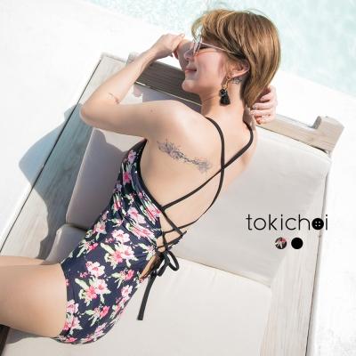 東京著衣 韓國同步綁帶性感連身泳裝-S.M(共二色)