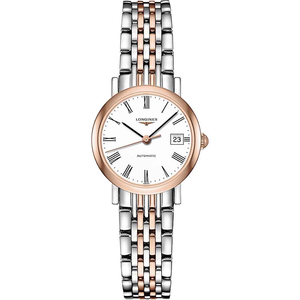 LONGINES Elegant 優雅系列羅馬機械女錶-白x雙色版/25.5mm
