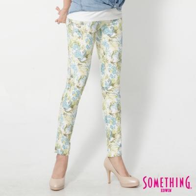 SOMETHING LADIVA花草合身牛仔褲-女-土耳其藍